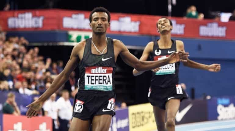 Samuel Tefera sets indoor world record in 1,500m