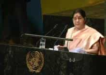External Affairs Minister Sushma Swaraj addressing the United Nations General Assembly