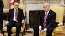 US President Donald Trump meets with President Recep Tayyip Erdogan of Turkey in the Oval Office of the White House in Washington, DC.