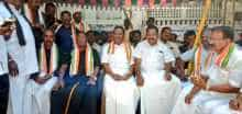 The protest led by Puducherry Chief Minister V. Narayanasamy in front of the Raj Nivas against Kiran Bedi entered the fourth day on Saturday