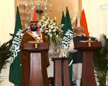 Prime Minister Narendra Modi and Saudi Crown Prince Mohammad Bin Salman during the joint press meet at Hyderabad House in New Delhi on Feb 20, 2019