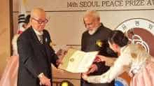 PM Modi was conferred the Seoul Peace Prize in an award ceremony organised by Seoul Peace Prize Foundation. (Image source: @MEAIndia)
