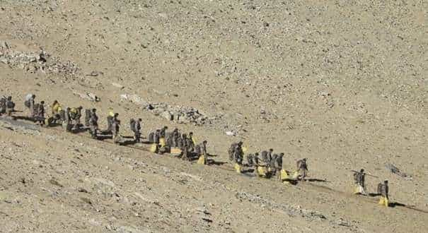 People Liberation Army (PLA) soldiers during military disengagement along the Line of Actual Control (LAC) at the India-China border in Ladakh. (Picture Credit: Indian Army)