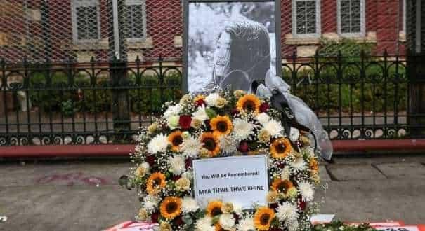 A memorial for Mya Thwate Thwate Khaing in Yangon, Myanmar