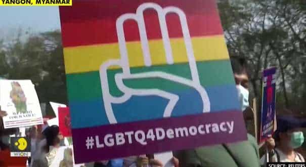Myanmar LGBTQ protesters take to streets against military coup