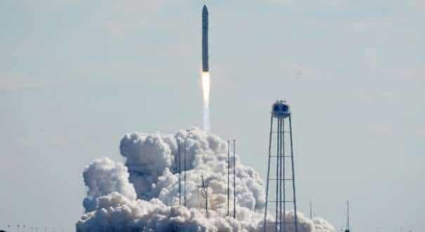 Northup Grumman's Antares rocket lifts off the launch pad at NASA's Wallops Island flight facility in Wallops Island