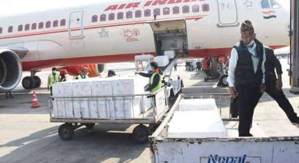 One million doses of made in India vaccines purchased by the Government of Nepal arrived at Tribhuvan International Airport in Kathmandu