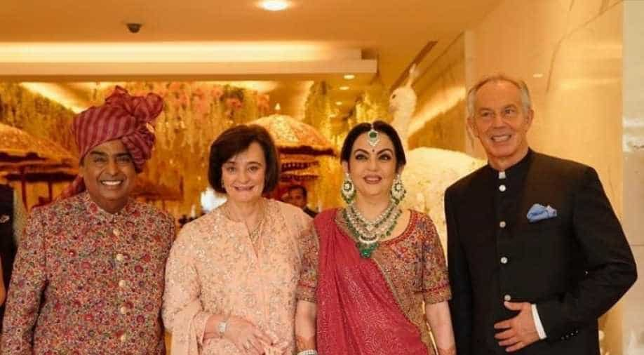 Akash-Shloka wedding a floral extravaganza: Ambanis twin in shades of pink; Tony Blair, Anand Mahindra among guests