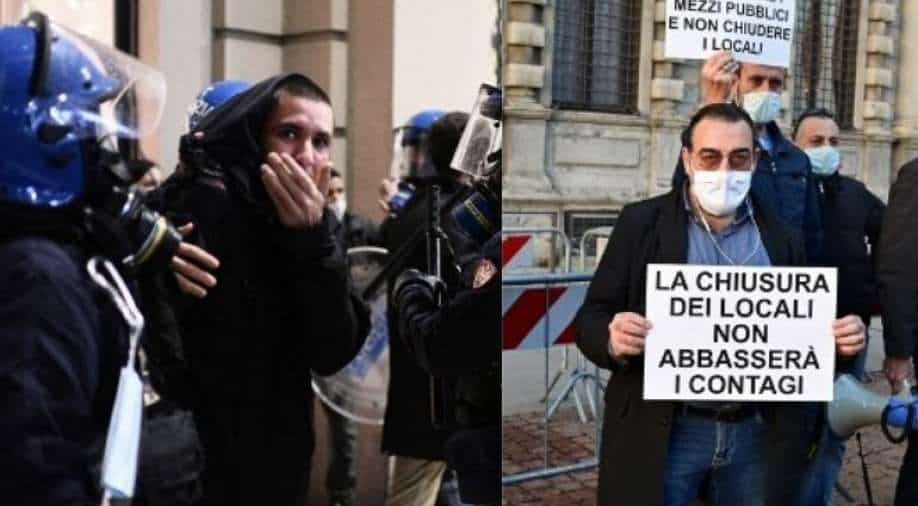 Covid: Protesters clash with police in Italy
