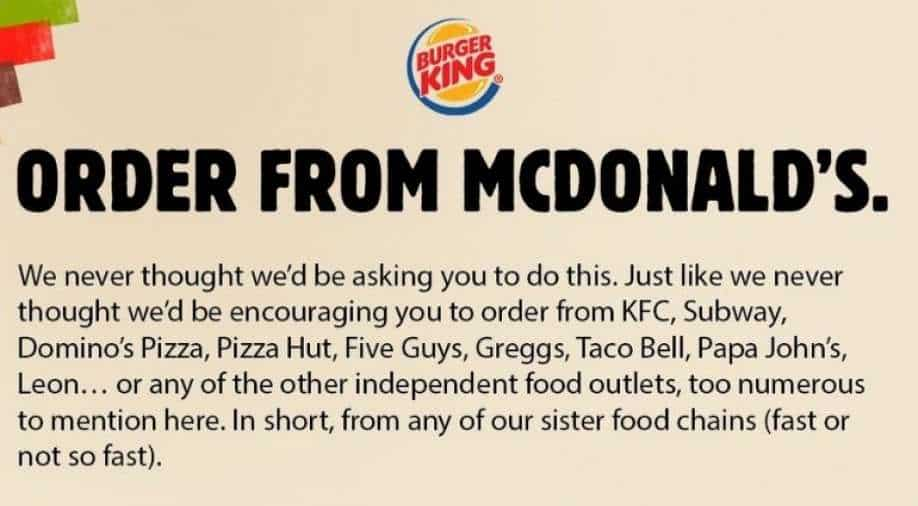 Burger King tells public to 'order from McDonald's'