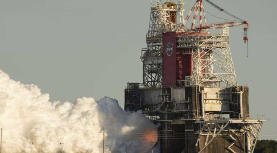 Test fire of NASA's SLS moon rocket ends prematurely