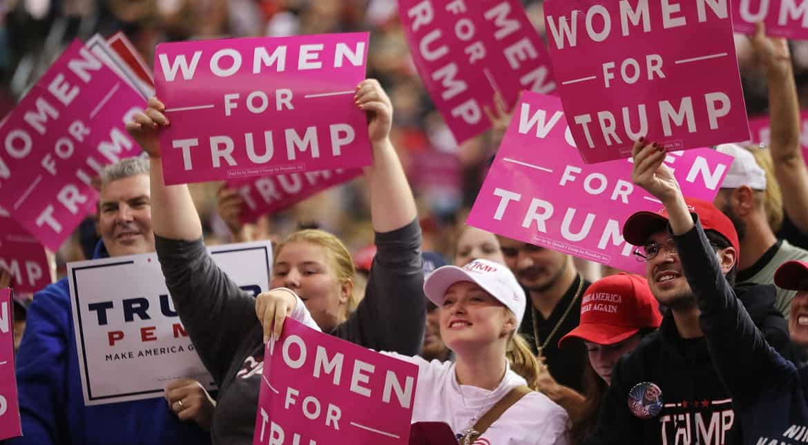 Trump supporters chant 'Trump for Women' at a rally in Toledo, Ohio on October 27.