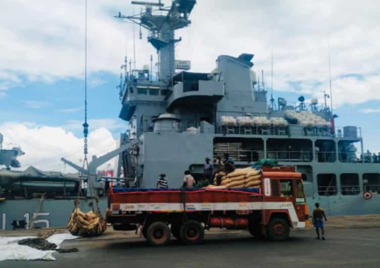 Indian Naval Ship Kesari being loaded with essential food and medicines