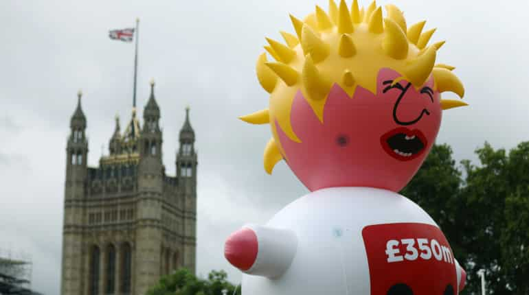 Blimp depicting Boris Johnson