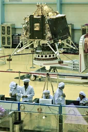 ISRO scientists work on the orbiter vehicle of 'Chandrayaan-2'