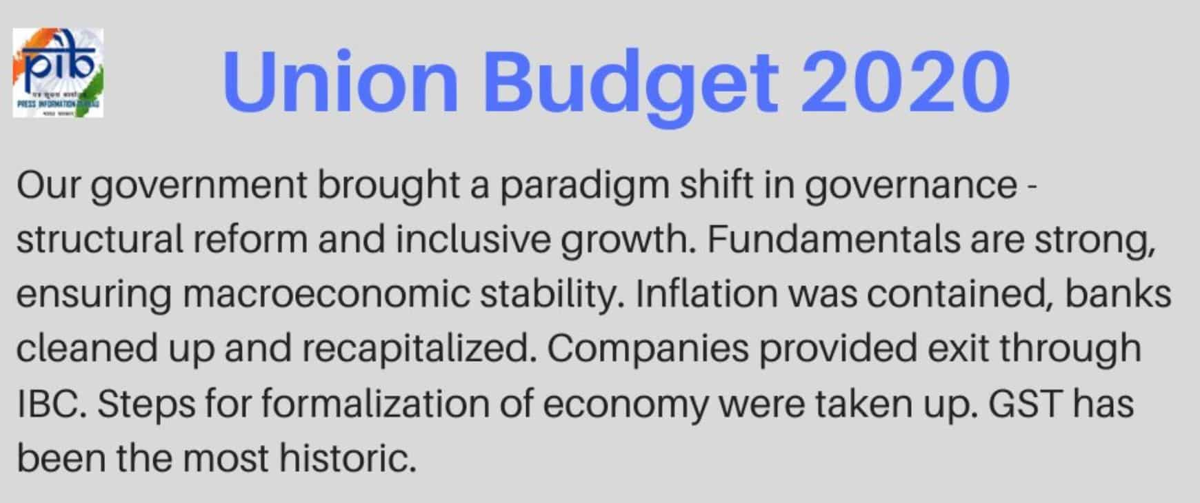 From the Budget Speech of Finance Minister Nirmala Sitharaman