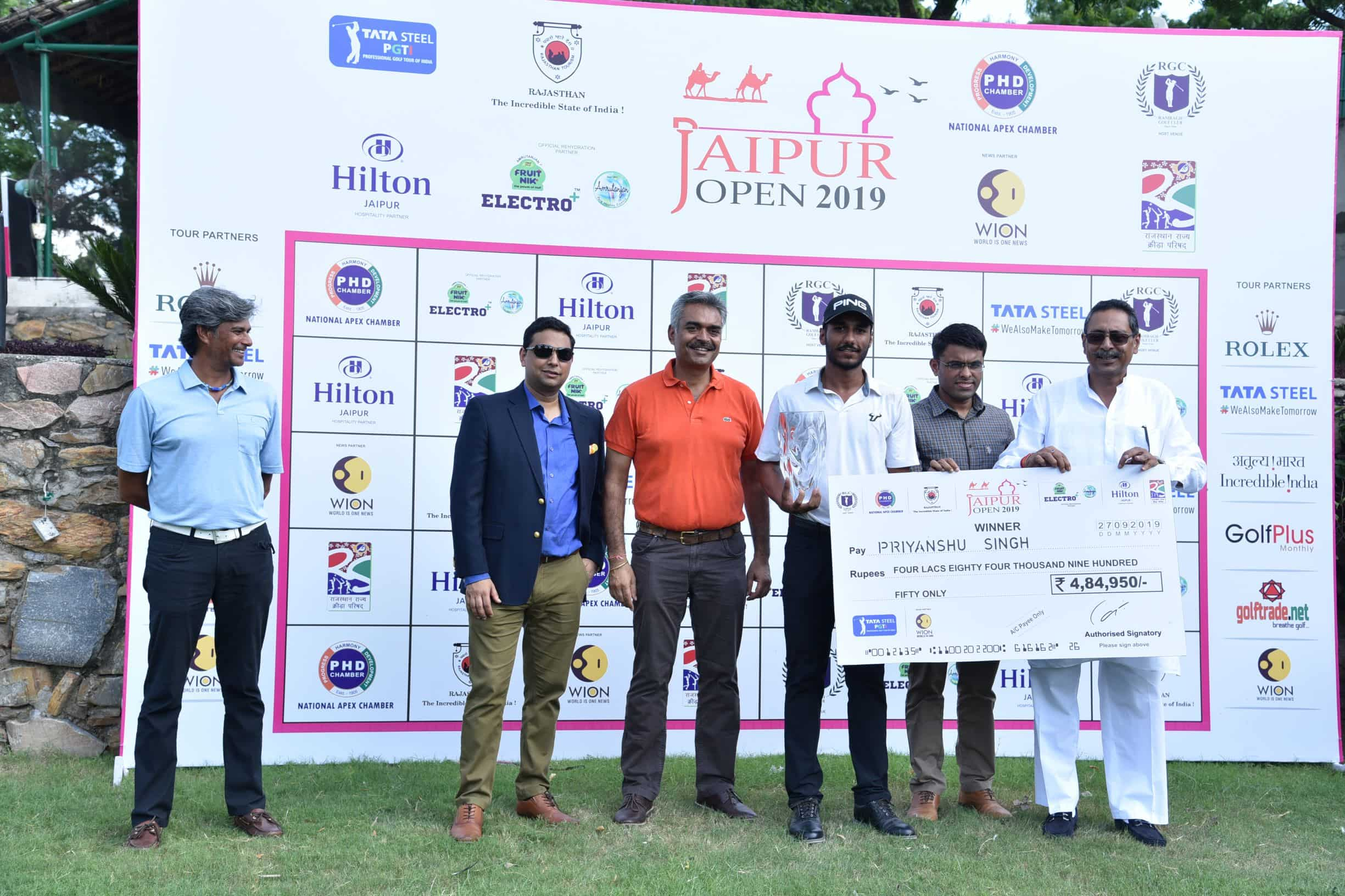 Priyanshu's winning purse of Rs. 4,84,950, lifted him from 29th to 14th position in the TATA Steel PGTI Order of Merit