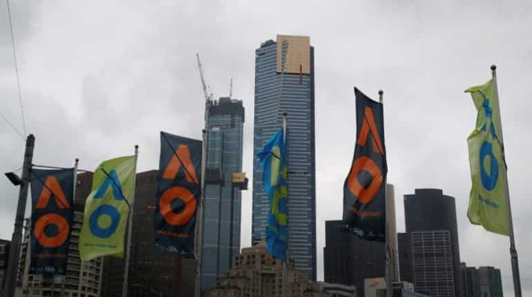 General view of flags in front of the Melbourne Skyline