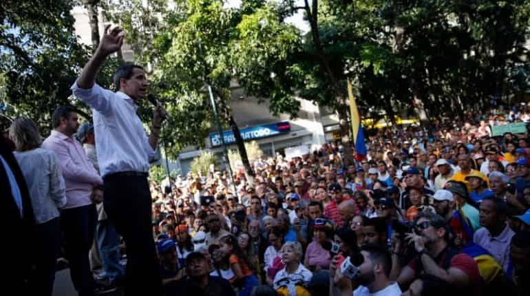 Juan Guaido sharing his views with supporters during citizen assembly in Caracas, Venezuela
