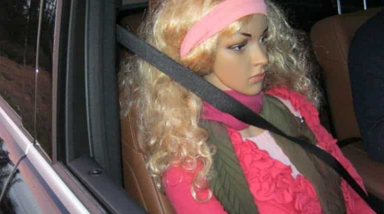 Mannequin dressed up as a co-passenger