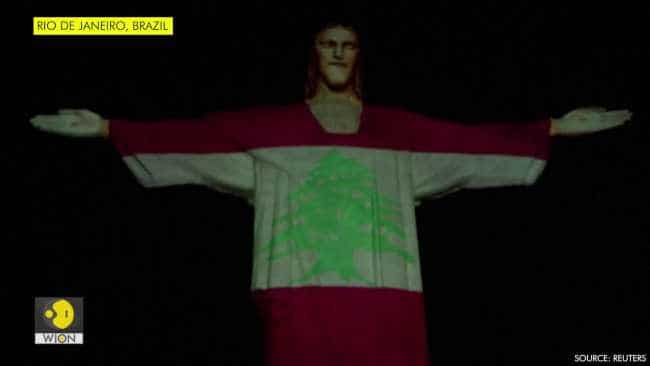 Rio's Christ the Redeemer lit up in Lebanese flag in solidarity
