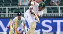 Dean Elgar of South Africa in action during day 5 of the 3rd Test between South Africa and West Indies at Sahara Park Newlands on January 06, 2015 in Cape Town, South Africa.