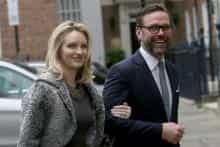 James Murdoch, the son of media mogul Rupert Murdoch, and his wife Kathryn Hufschmid arrive for a reception to celebrate the wedding between Rupert Murdoch and former supermodel Jerry Hall, in London, Britain March 5, 2016.
