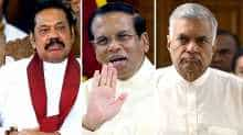 From left: Mahinda Rajapaksa, Maithripala Sirisena and Ranil Wickremesinghe.