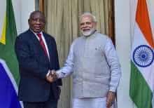 Prime Minister Narendra Modi greets South African President Cyril Ramaphosa prior to a meeting at Hyderabad House, in New Delhi, Friday, Jan. 25, 2019.