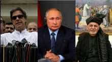 File photo of Imran Khan, Vladimir Putin and Hamid Karzai.