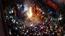 The burning of holy pyres on the eve of 'Holi' in Patna.