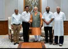 Goa Chief Minister Pramod Sawant and other BJP leaders including Vinay Tendulkar, Satish Dhond & Sanjiv Desai meet Prime Minister Narendra Modi in New Delhi