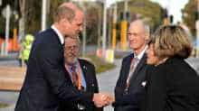 Britain's Prince William arrives at Christchurch Hospital in Christchurch, New Zealand