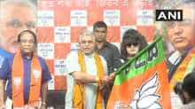 Bangladesh actress Anju Ghosh with West Bengal BJP president Dilip Ghosh in Kolkata.