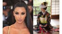 Kim Kardashian and a picture of Japanese tradition dress Kimono.