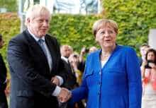 Angela Merkel and Britain's Prime Minister Boris Johnson