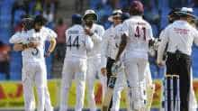 India celebrates winning on day 4 of the 1st Test between West Indies and India