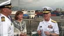Elizabeth Richard and US Navy Vice Admiral James Malloy