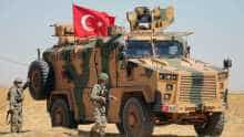Turkish military vehicle during a joint US-Turkey patrol