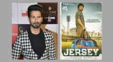 Shahid Kapoor and poster of 'Jersey'
