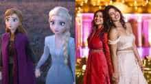 File image of Priyanka and Parineeti and a still from 'Frozen 2'
