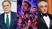File images of Coppola, Scorsese and a poster of 'Avengers: Endgame'