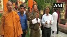 Bhutan Foreign Minister Tandi Dorji (C) at Mahabodhi Temple on Tuesday