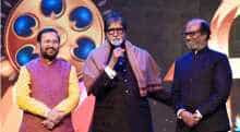 Prakash Javadekar with Rajinikanth and Amitabh Bachchan