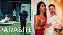 Poster of 'Parasite' and a file image of Priyanka Chopra and Nick Jonas