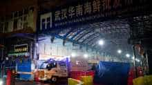 Security guards stand in front of the closed Huanan Seafood Wholesale Market in the city of Wuhan, in the Hubei Province, on January 11, 2020, where the Wuhan health commission said that the man who died from a respiratory illness had purchased goods