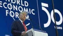 US President Donald Trump during an address at the World Economic Forum in Davos, Switzerland