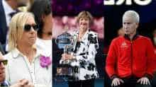 Martina Navratilova (L), Margaret Court (C) and John McEnroe (R)