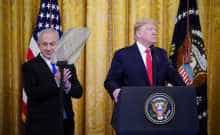 US President Trump and Israel's PM Benjamin Netanyahu during an announcement of the Middle East peace plan at the White House in Washington