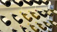 bottles of wine are on display two days ahead of the inauguration of the International Wine and Spirits fair